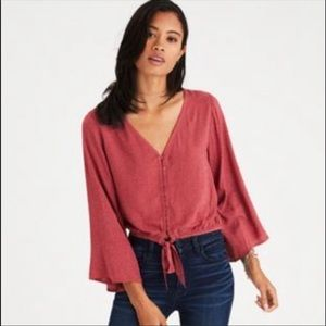 American Eagle Pink and White Speckled Blouse